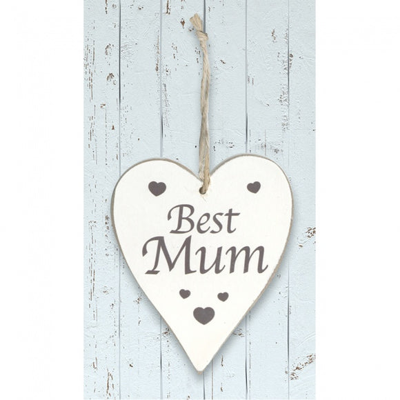 White Wooden Heart 'Best Mum'