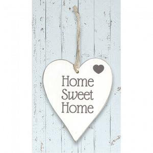 White Wooden Heart 'Home Sweet Home'