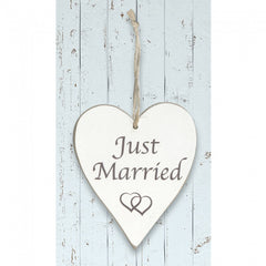 White Wooden Heart 'Just Married'