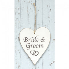 White Wooden Heart 'Bride and Groom'