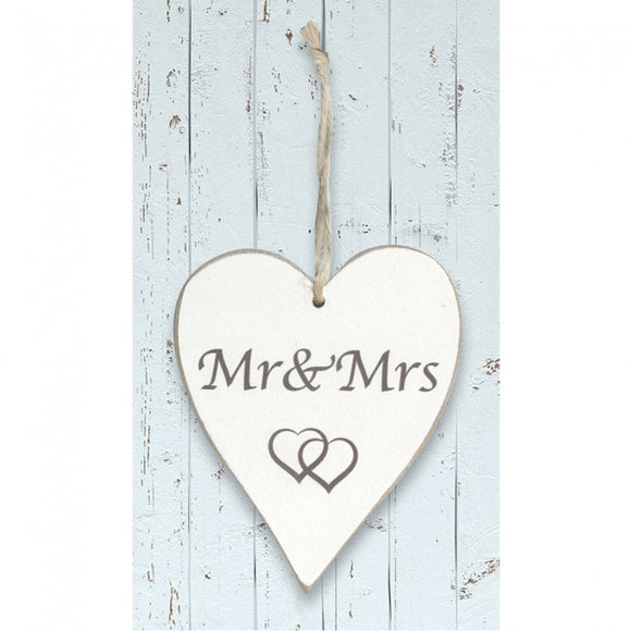 White Wooden Heart 'Mr and Mrs'
