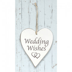 White Wooden Heart 'Wedding Wishes'