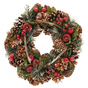 30cm Natural Wreath with Frost Finish