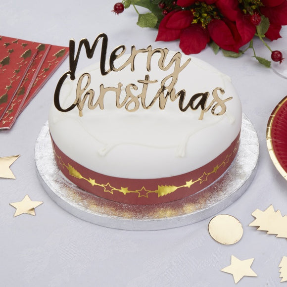 'Dazzling Christmas' Merry Christmas Cake Topper - Gold