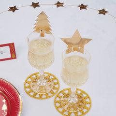 'Dazzling Christmas' Gold Glass Decorations - 10 Pack