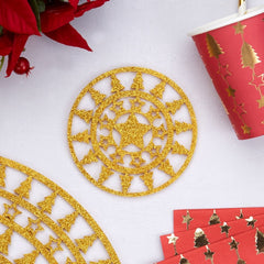 'Dazzling Christmas' Glitter Coasters - Gold 4 Pack
