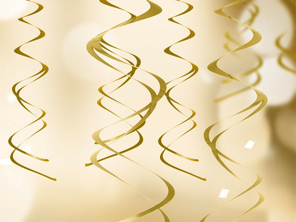 Hanging Swirl Decorations (Gold)