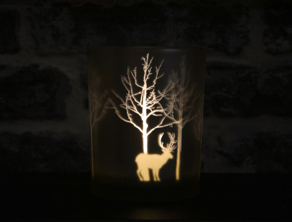 Large Christmas Scene Candle Holder