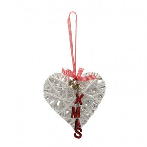 Hanging Christmas White Wicker Heart