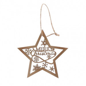Hanging Star Wooden Decoration