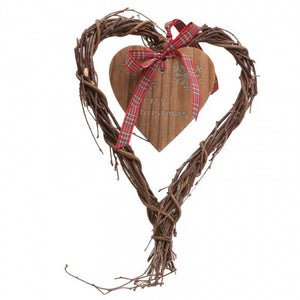 Hanging Christmas Wicker / Wooden Heart