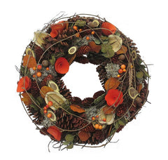 Autumn Log and Rose Wreath (30cm)
