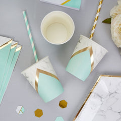 Colour Block Marble Paper Cups (Mint)