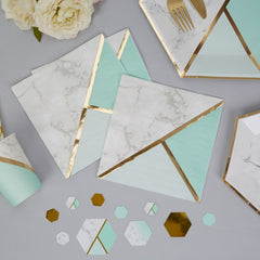 Colour Block Marble Napkins (Mint)