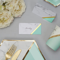 Colour Block Marble Place Cards (Mint)