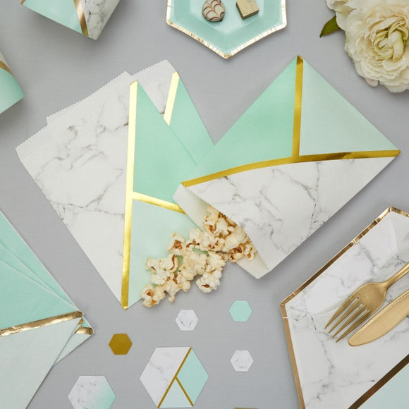 Colour Block Marble Sweetie Bags (Mint)