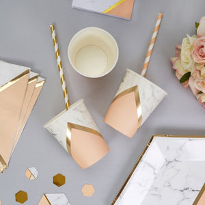 Colour Block Marble Paper Cups (Peach)