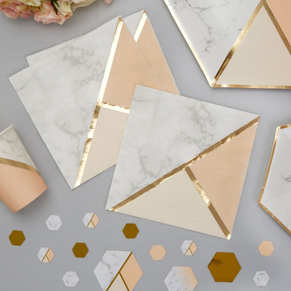 Colour Block Marble Napkins (Peach)