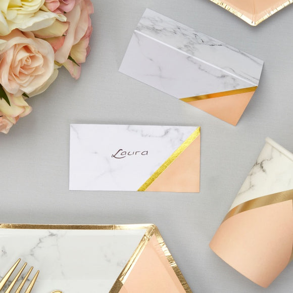 Colour Block Marble Place Cards (Peach)