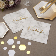 Scripted Marble Paper Napkins