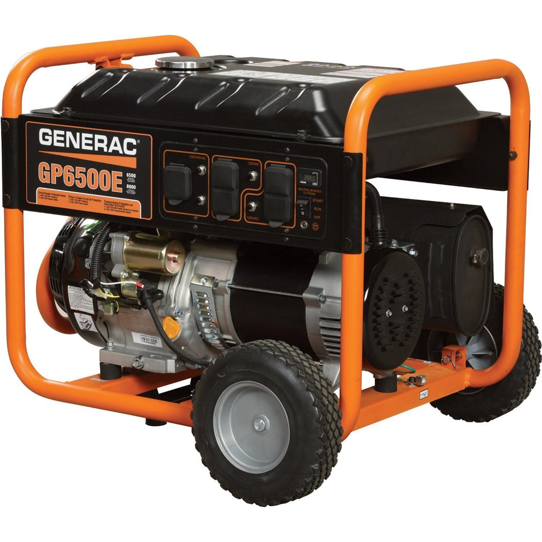 Generac 5941 GP6500E 6,500 Watt 389cc OHV Portable Gas Powered Generator with Electric Start