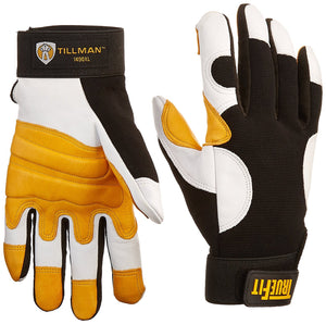 John Tillman and Co 1490XL TrueFit Super Premium Full Finger Top Grain Goatskin and Spandex Mechanics Gloves with Elastic Cuff, X-Large, Black/Gold/Pearl