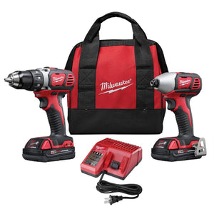 Milwaukee 2 Piece M18 Compact Lithium Ion Drill/driver And Impact Wrench Combo Kit