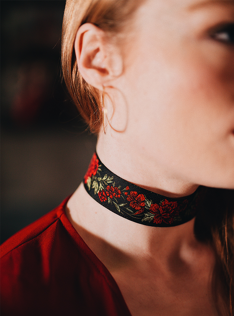 Limited Edition - Embroidered Rose Chokers (Only 8 Available)