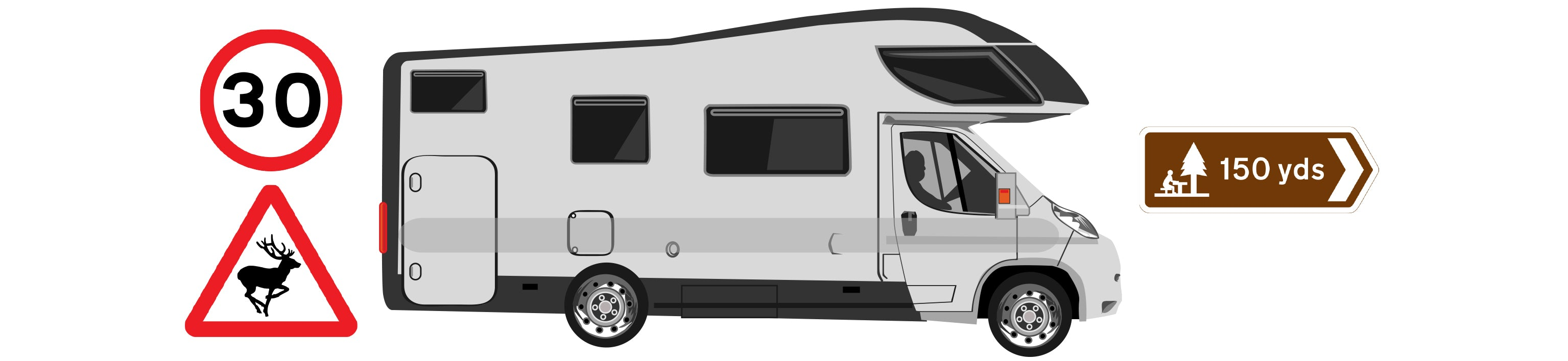 Illustration of car towing caravan