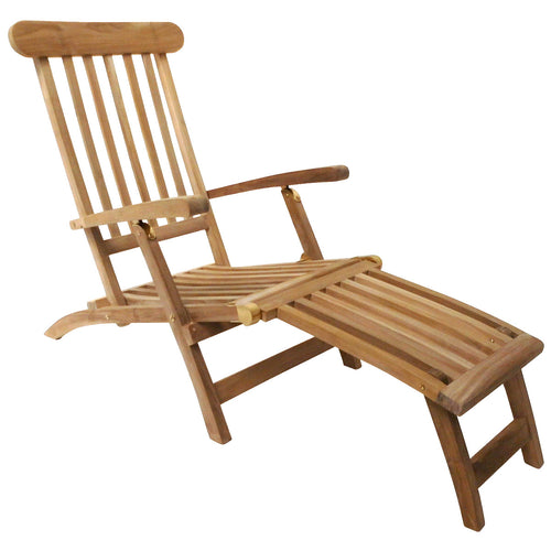Charles Bentley Wooden Sun Lounger Garden Chair - Teak