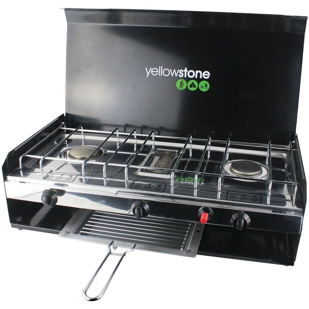 Yellowstone Deluxe Double Burner Camping Stove with Grill & Lid