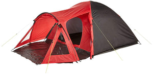 Yellowstone Peak 4 Person Dome Tent with Porch - Red