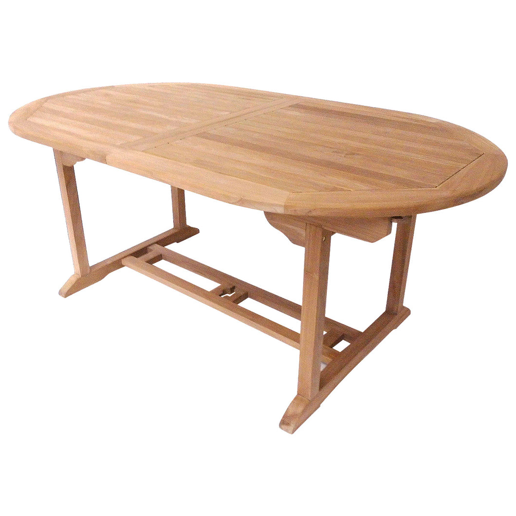 Charles Bentley Oval Solid Teak Extendable Garden Table 6-8 Seater