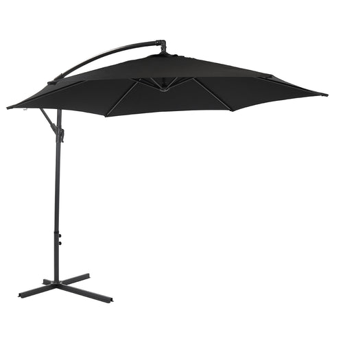 Charles Bentley Garden 3m Round Cantilever Parasol Umbrella - Black