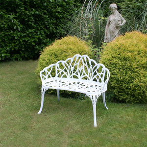 Charles Bentley White Tulip Cast Aluminium Metal 2 Seats Garden Patio Bench Seat