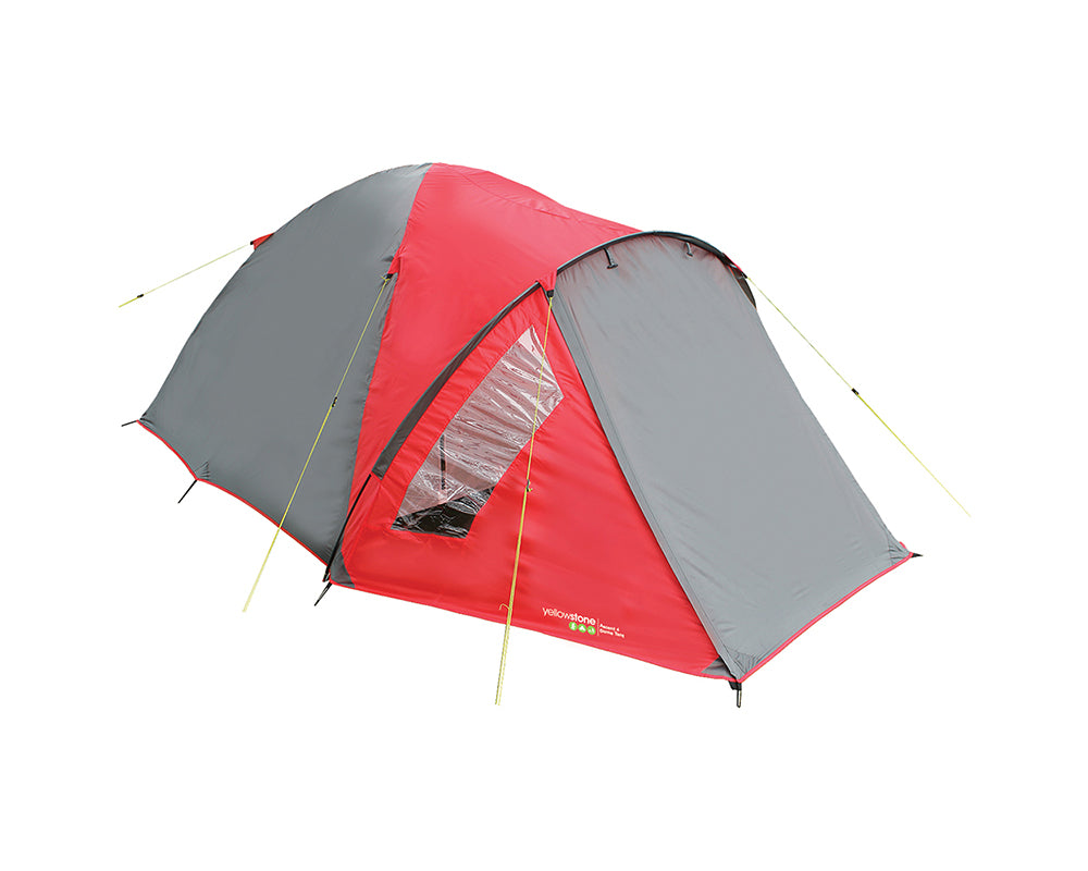 Yellowstone Ascent 4 Man Camping Tent - Red