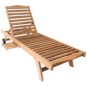 Charles Bentley Solid Teak Patio Reclining Sun Lounger
