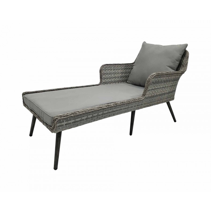 Charles Bentley Rattan Chaise Lounge - Light Grey