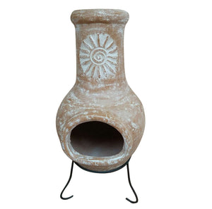 Charles Bentley Natural Clay Wood Burning Chiminea Patio Heater - Med