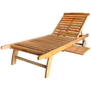 Charles Bentley Wooden Reclining Sun Lounger with Side Table