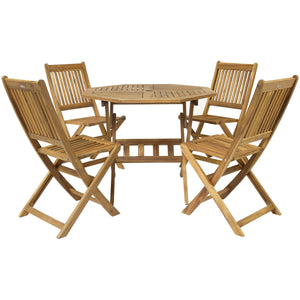 Charles Bentley Octagonal Hardwood Patio Table & 4 Chairs - 5 Piece Set