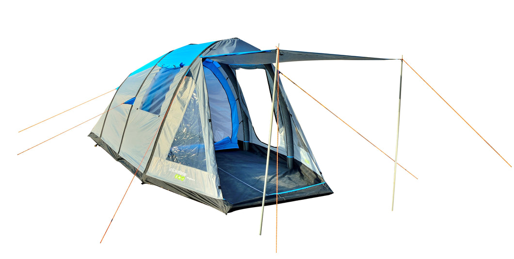 Yellowstone Wingfoot 4 Man Family Air Tent - Blue & Grey