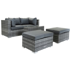 Charles Bentley 2 Seater Rattan Lounge Set w/ Footstools Table - Grey