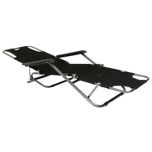 Charles Bentley Foldable 2-In-1 Reclining Camping Chair - Black