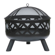 Charles Bentley Large Round Black Metal Fire Pit with Mesh Cover