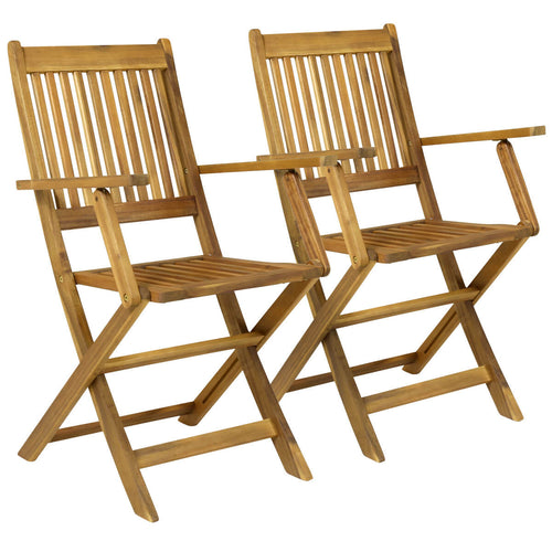 Charles Bentley Traditional Wooden Folding Patio Chairs - Set of 2