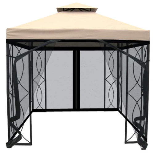 Charles Bentley 3m x 3m Luxury Gazebo Awning with Mesh Curtain - Cream