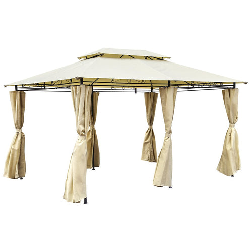 Charles Bentley 3m x 4m Steel Gazebo with Side Curtains - Beige