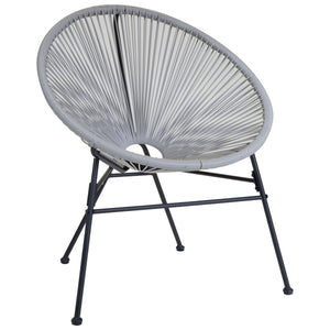 Charles Bentley Garden Furniture Retro Rattan Lounge Chair - Grey