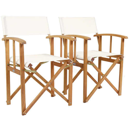Charles Bentley Pair Of Folding Wooden Directors Chairs FSC Certified - Cream